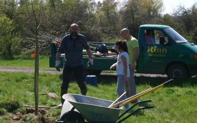 Streuobstinitiative als Integrationsprojekt – Stadt, OGV und Migrantengruppe arbeiten Hand in Hand  – Baumschule Rinn spendet Apfelbäume und arbeitet selbst aktiv mit.